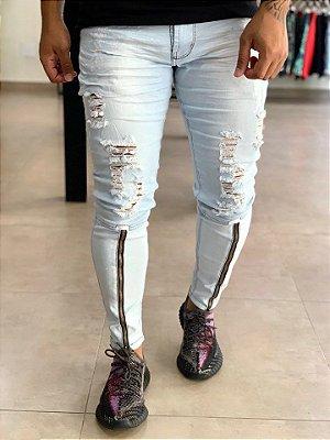 Calça Jeans Delavê Skinny Destroyed Zíper Frontal - Codi Jeans