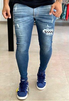 Calça Jeans Skinny Destroyed Grid Ordos - City Denim