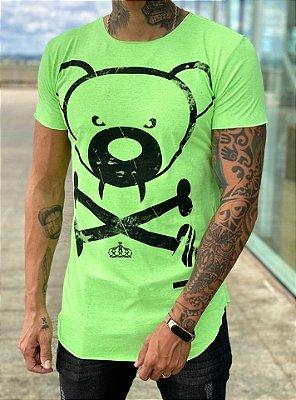 Camiseta Longline Urso Verde Neon - Kreta