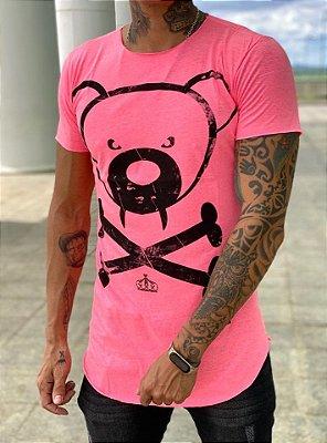 Camiseta Longline Urso Pink Neon - Kreta