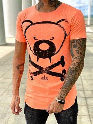 Camiseta Longline Urso Laranja Neon - Kreta