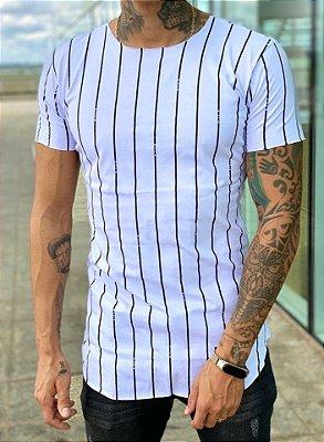 Camiseta Longline White Listras - Kreta