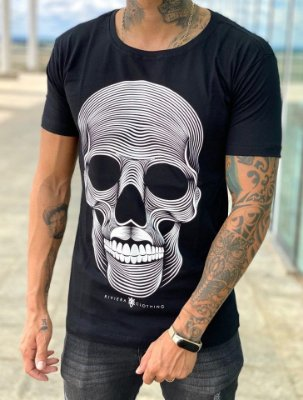 Camiseta Black Skull Mustache - Riviera Clothing