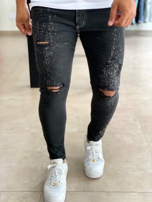 Calça Black Skinny Destroyed New Respingos - City Denim