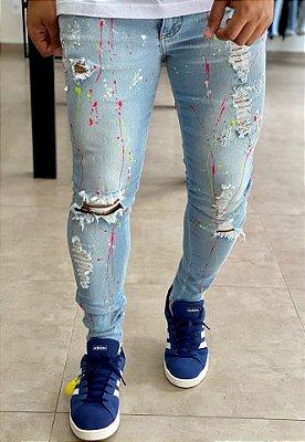 Calça Jeans Clara Skinny Destroyed Respingos - Metal Carbono