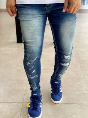 Calça Jeans Skinny Destroyed Chuy - Metal Carbono