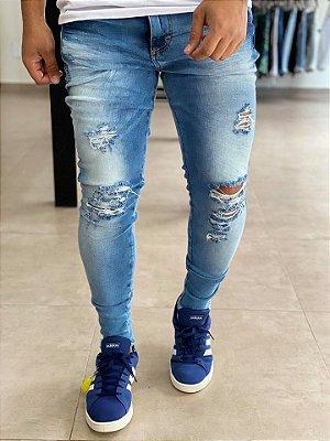 Calça Jeans Skinny Destroyed 3D - Metal Carbono