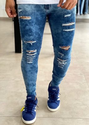 Calça Jeans Marmorizada Azul Skinny Destroyed - Creed Jeans