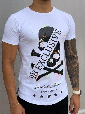 Camiseta Longline White Skull Splash - FB Clothing