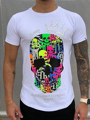 Camiseta Longline White Skulls Fluor - FB Clothing