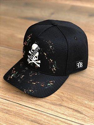 Boné Snapback Black Skull Splash - FB Clothing