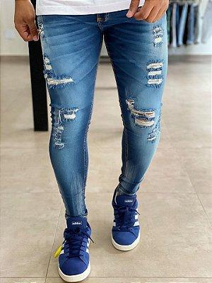 Calça Jeans Skinny Destroyed Manchas Brancas - Creed Jeans