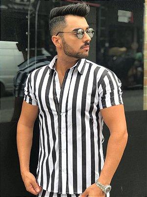Camisa Listrada Black White - Exalt Urban