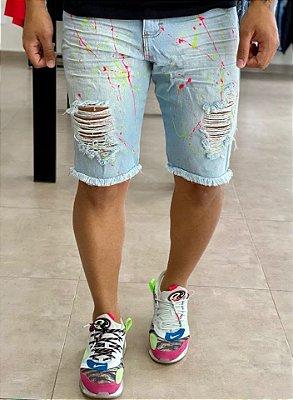 Bermuda Jeans Clara Respingos Colors - Metal Carbono