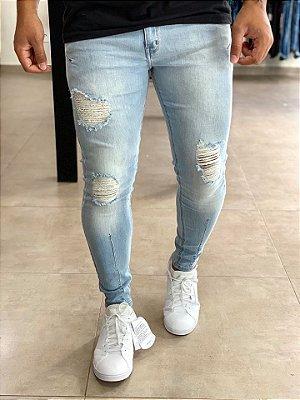 Calça Jeans Skinny Destroyed Light Wash - Zip Off