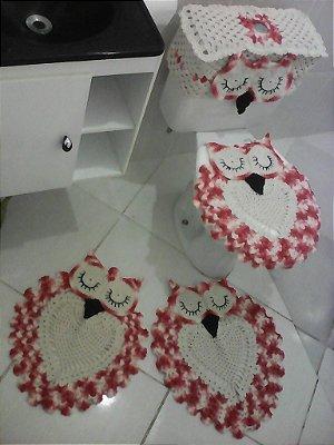conjunto de banheiro corujas dorminhoca com 5 peças