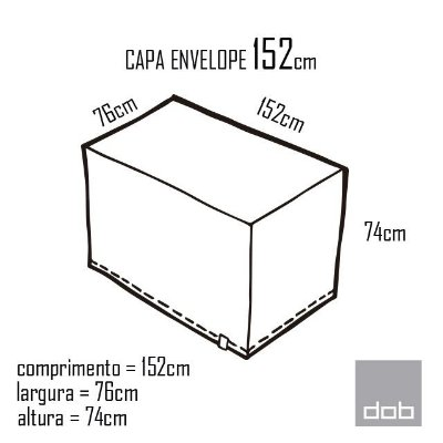 Capa Envelope Branca para mesa dobrável M - 152x76x74cm