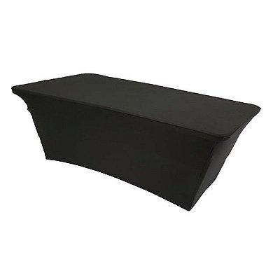 Capa Elastano Preta para mesa dobrável G - 183x76x74cm