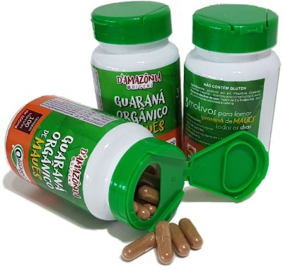 Guaraná Orgânico em cápsula vegetais - kit 3 potes