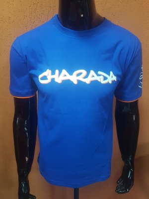 CamisetaCHARADA Azul Interrogação nas Costas