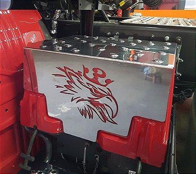 Tampa/Aplique/Acabamento/Capa CHARADA Inox da Caixa da Bateria Scania S5 com Repuxe
