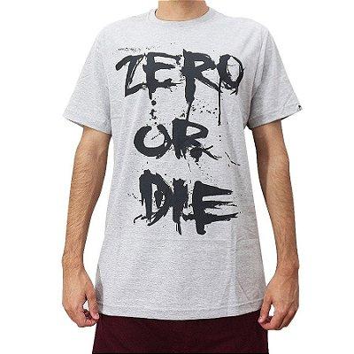 Camiseta Zero Skateboards Zero Or Die Cinza Mescla