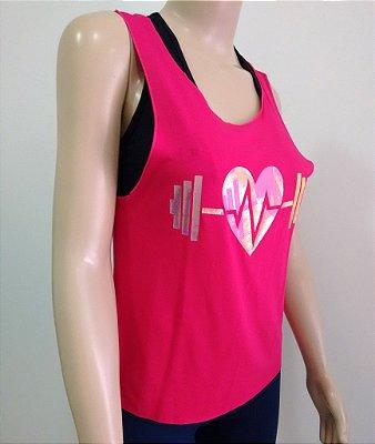Regata Fitness Feminina Coração Com Recortes - Tamanho M, Cor Pink