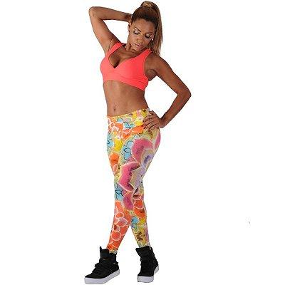 Calça Legging Fitness Estampada Cós Alto - Amarelo