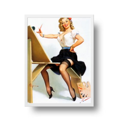 Quadro Poster Decorativo Pin Up Girl Pintando The Right Touch - Vintage, Retrô