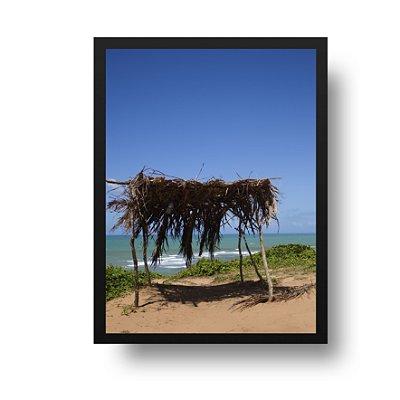 Quadro Poster Decorativo Foto Paisagem Praia - Quiosque, Palha, Pipa, RN