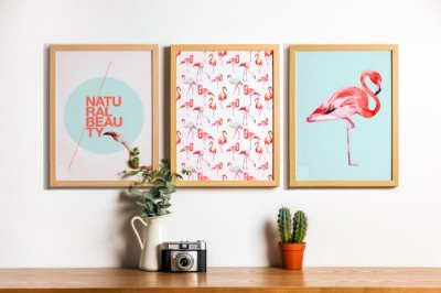 Conjunto 3 Quadros Decorativos Natural Beauty - Cores Rosas, Flamingos