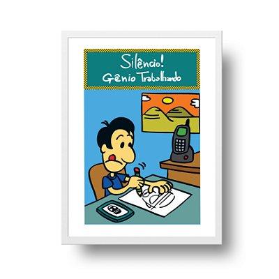 Poster Humor Azul - Silêncio, Gênio Estudando - tamanho 20 x 25