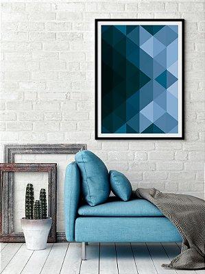 Quadro Poster Decorativo Geométrico Azul - Design, Abstrato, Triângulos