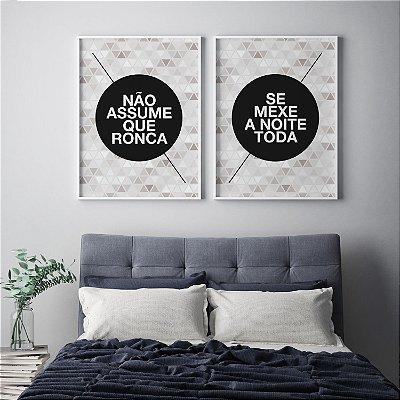 Conjunto 2 Quadros Decorativos Quarto Casal - Frase Humor, Ronca e Se Mexe