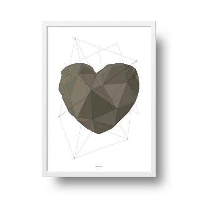 Poster Geométrico Coração - Cinza