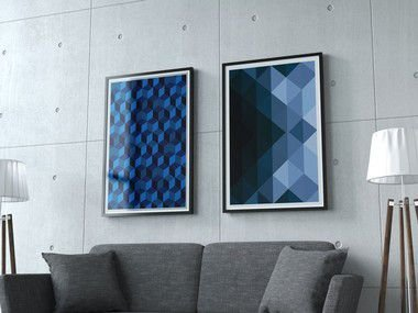 Conjunto 2 Quadros Decorativos 50x70 cm Abstrato Azul - Geométricos, Use Vertical ou Horizontal