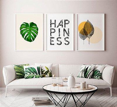 Conjunto de Posters Costela de Adão + Happiness + Folhinhas 50x70 cm Cada - Molduras Brancas