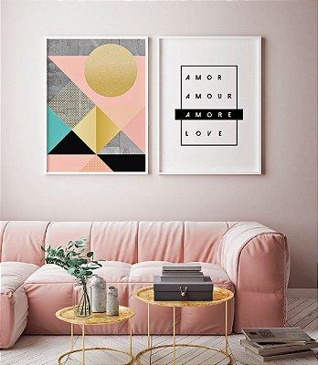 Conjunto 2 Quadros Decorativos 50x70 cm cada - Arte Geométrica O Sol + Palavras Amor Idiomas