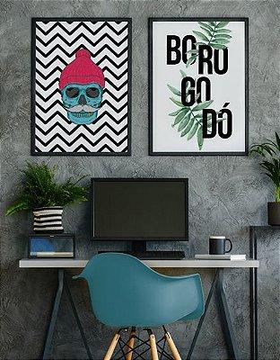 Conjunto 2 Quadros Decorativos 50x70 cm - Caveira Hipster Fundo Geométrico + Frase Borogodó