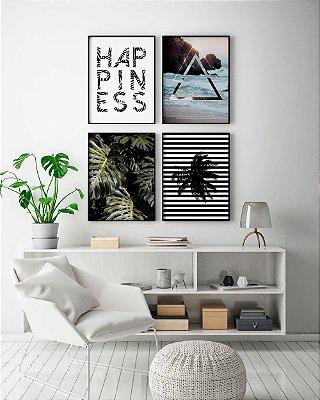 Conjunto de Quadros Posters Happiness + Geométrico Praia + Fotografia Costelas de Adão + Geométrico Coqueiro - 40x50 cm Cada - Molduras Pretas