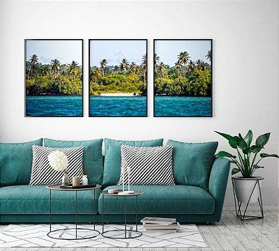 Conjunto 3 Quadros Decorativos 50x70 cm - Fotografia Itaparica Mar, Praia, Coqueiros