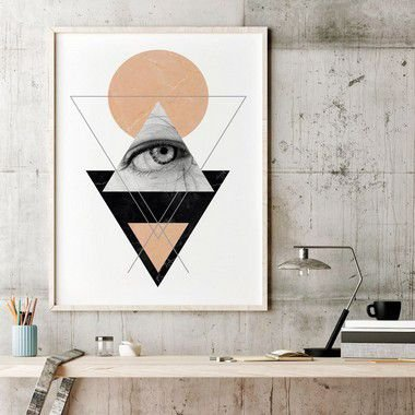 Quadro Poster Decorativo Geométrico O Olho - Triângulos, Linhas, Abstrato, Minimalista