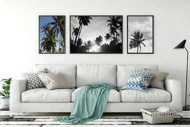 Conjunto 3 Quadros Decorativos - Fotografia, Coqueiros, Céu Azul