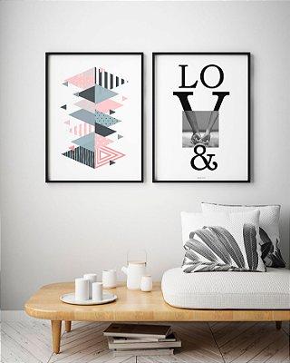 Conjunto 2 Quadros Decorativos - Love Mãos Dadas + Geométrico Escandinavo Abstrato