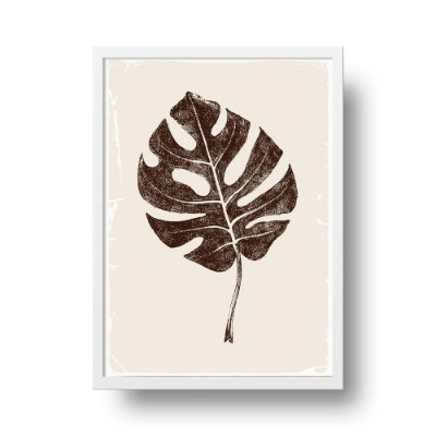 Quadro Poster Decorativo Natureza Folha Costela de Adão - Folha Seca