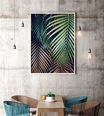 Quadro Poster Decorativo Fotografia Folhas de Palmeira - Natureza, Verde, Tropical