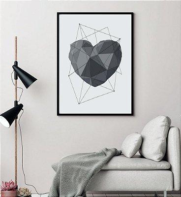 Quadro Poster Decorativo Amor Coração Geométrico Cinza - Love, 3D, Minimalista