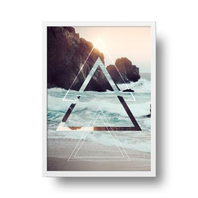 Quadro Poster Decorativo Geométrico Praia - Triângulos, Abstrato, Mar, Ondas