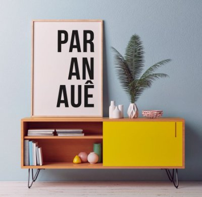 Quadro Poster Decorativo Paranauê - Palavra, Minimalista, Preto, Branco