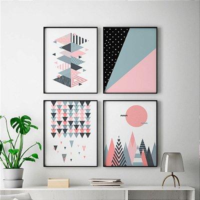 Conjunto 4 Quadros Decorativos Escandinavo - Abstrato, Geométrico, Triângulos, Scandi